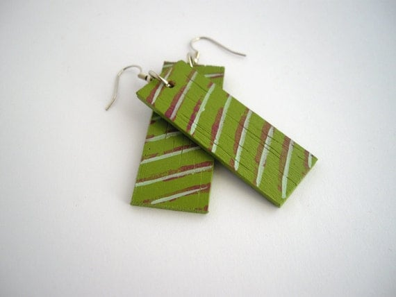 Burgundy and blue striped handpainted green earrings - wood jewelry - eco friendly