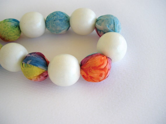 Silk necklace, wooden bead necklace, textile jewelry, statement necklace, colorful fiber necklace, bold jewelry, gifts for her, under 50