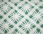 Christmas Green Vintage Chenille   White Double Wedding Ring and Lattice on Dark Green Morgan Jones Vintage Chenille Bedspread Fabric
