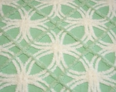 Gorgeous Minty Jadite Green and White Plush Vintage Chenille Bedspread Fabric - 38 inches by 24 inches