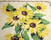 Yellow Sunflowers Wilendur Vintage Tablecloth Piece for Pillow or Projects