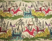 """Fabulous Woodland Horses and Deer """"Fantasia"""" Mid Century Vintage Barkcloth - Fantastic Colors - 46 Inches by 19 Inches"""