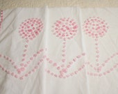 Pink Flowers Candlewick Popcorn Handmade Vintage Chenille Bedspread Fabric - Two Pieces with Four Flowers
