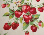 Red Strawberries Wilendur Tablecloth Fabric Cutter Piece for Pillow or Small Projects