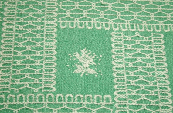 Jade Green Lillies of the Valley Woven Cotton Bates Vintage Bedspread Fabric - 42 by 25 Inches