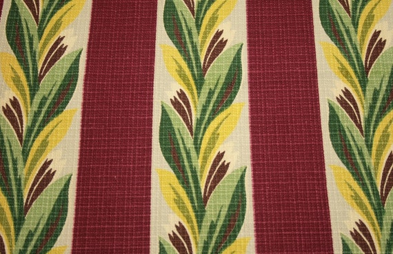 Mid-century Art Deco Plumes Vintage Barkcloth Fabric - 65 by 20 inches