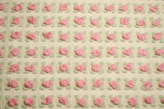 Pink Rosebud Popcorn Morgan Jones Vintage Chenille Fabric - 24 x 18 Inches