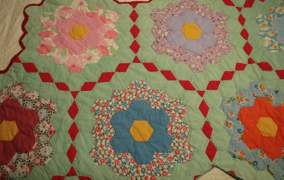 Grandmother's Flower Garden Vintage Quilt Piece - Unusual and Lovely Colors - 8 Flowers