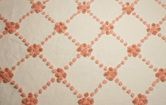 Lovely Peach Popcorn Handtufted Vintage Chenille Bedspread Fabric - 26 Inches by 24 Inches