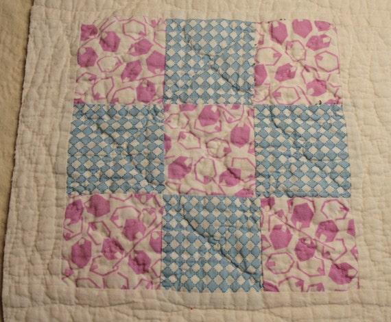 "Nine Patch Antique Cutter Quilt Piece - 3 Different ""Make Do"" Blocks Set in Feedsack Sashing - Feedsack Backing"