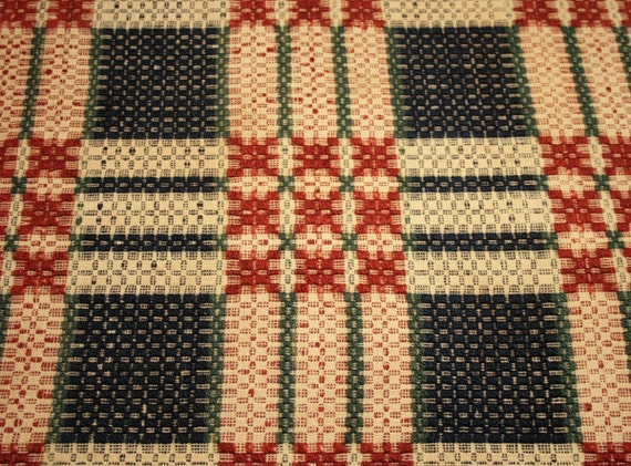 19th Century Blue, Russet, Green and Cream Linsey Woolsey Jacquard Overshot Coverlet Piece - 22 by 20 Inches