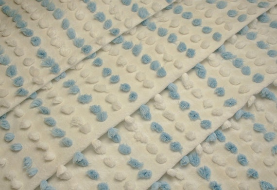 Blue and White Fluffy Popcorn Handmade Vintage Chenille Bedspread Fabric - 26 x 26 Inches