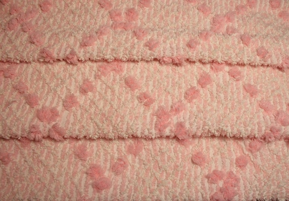 Lovely Pink Plush and Needletufted Cabin Crafts Vintage Chenille Fabric - 28 by 22 Inches