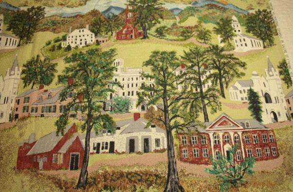 "Grandma Moses ""Williamstown"" Vintage Barkcloth - 31 x 18 Inches"