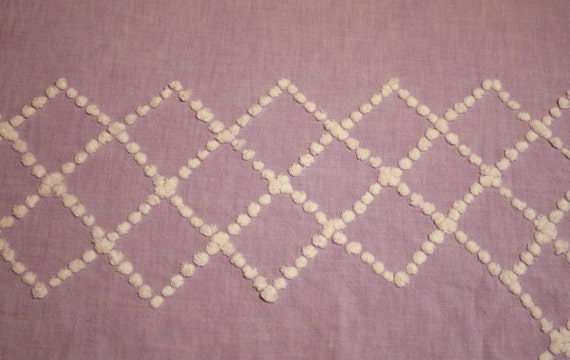 White Candlewick Popcorn on Lavender Handmade Vintage Chenille Bedspread Fabric - 40 x 20 Inches