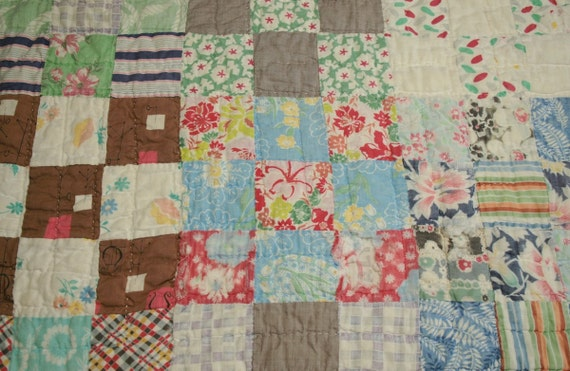 Rustic Nine Patch Vintage Cutter Quilt Piece - Feedsack Fabric Front and Back - 24 x 21 Inches
