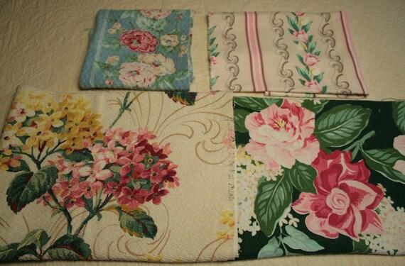 Bargain Barkcloth Remnant Lot - 2 Pounds, 10 Pieces, 8 Different Designs