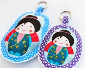 Kokeshi Dolls Key Holder Set - 2 Japanese traditional fabric Keychain dolls