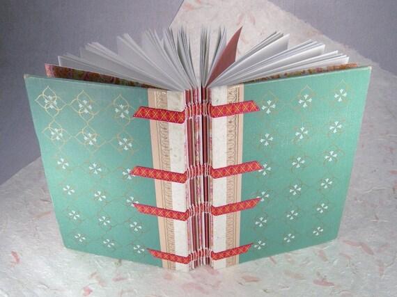 Ribbon Spine Journal w/Vintage 1961 Readers Digest Green Patterned Cover