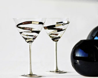 Martini Glasess Spiral Hand Painted Set of 2  Swarovski Crystal Decorated, Black Gray, Wgite, Silver