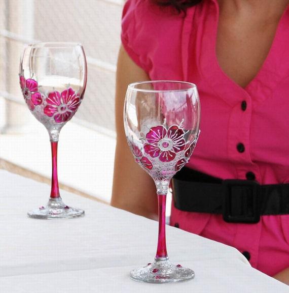 """Wine Glasses Hand Painted set of 2 """"Purple Garden""""  dark pink, fuchsia"""