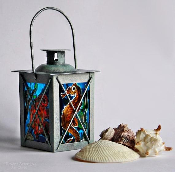 Sea World-Small Decorative Lamp-Tea Light Candle Holder-Hand Painted