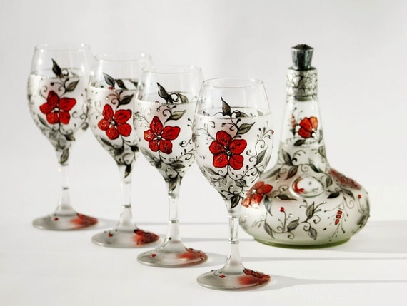 Set of 4 Wine Glasses and a Bottle-Hand Painted-Art Nouveau Design  Great Wedding Gift Valentines Gift