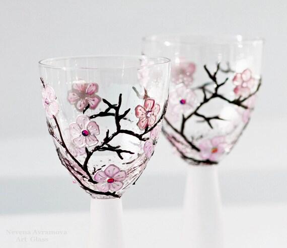 Бокалы или рук Подсвечники Окрашенные Сакура-поцелуй весны светло-розовый фиолетовый розовый Swarovski Cristals Набор из 2