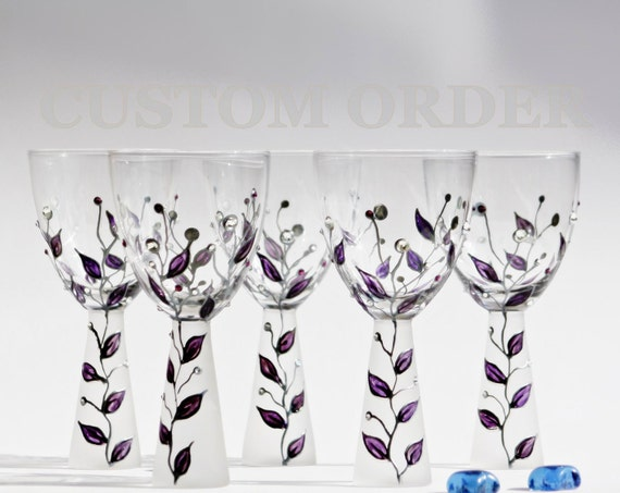 CUSTOM ORDER Purple Touch Wine Glasses Hand Painted or Tea Light Candle Holder Diamond Swarovski Crystals Lovely Wedding Gift