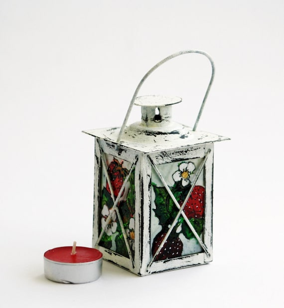 Strawberry Garden Small Decorative Lamp-Tea Light Candle Holder-Hand Painted