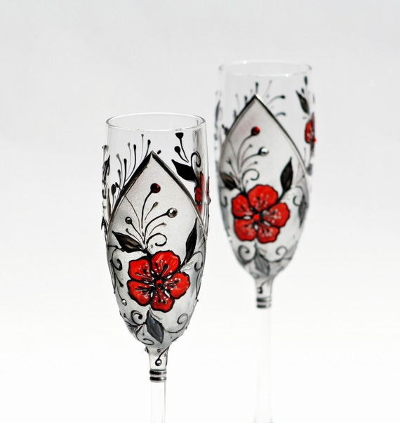 MADE to ORDER Champagne Flutes Hand Painted Red Black Siver Wedding Set of 2 Swarovski Crystals