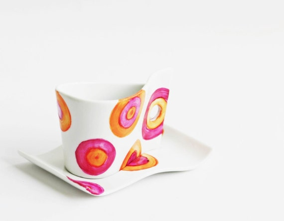 Hot Orange Pink Polka Dots Tea Coffee Ceramic Cup Hand Painted circles