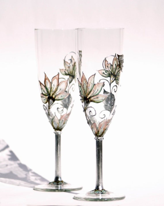 Set of 2 Toasting Champagne Flutes Hand painted Silver, Mint, Blush coral,Brown pastel tones