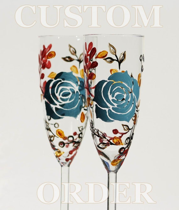 CUSTOM ORDER for  Kayla Set of 2 Hand Painted Champagne Flutes