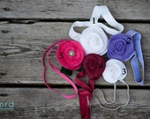 Hand Sewn Felt Rose on a Stretchy Elastic Headband for infants, toddlers, girls and adults