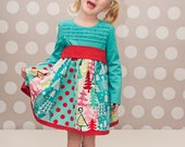 Girls and Toddler Long Sleeved T-shirt Holiday Dress or Topper with Strip Paneled Skirt