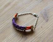 Recuerdos Bracelet - macrame knot,  rope, metallic beads, boho urbain