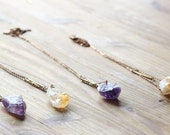 Raw Crystals, Amethyst, Citrine Necklace - Crystal point, Purple, Lavander, vintage brass bar, geometric