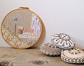 Dandelion Spores in the Breeze / Textile Collage Wall Art / Vintage Embroidery Hoop