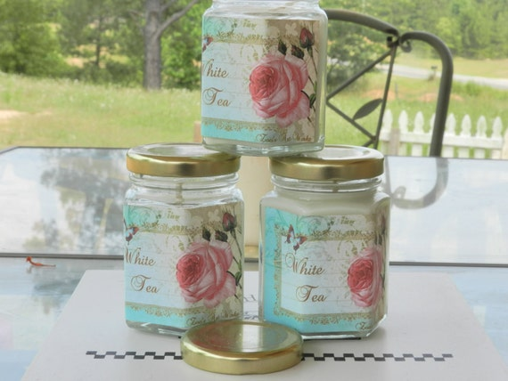 White Tea  Candle 4 oz Hexogen Jar