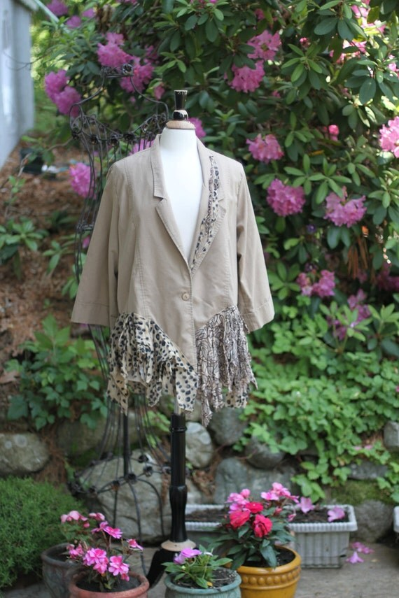Upcycled/Jacket/ Extra Large/ Beauty in simple form / One of a kind by Dvoika