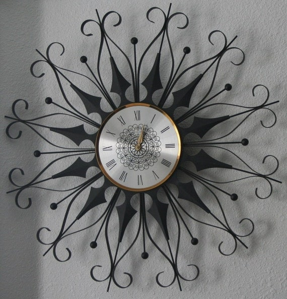 Retro Starburst Wall Decor : Vintage retro metal starburst wall clock by yosalvovendo