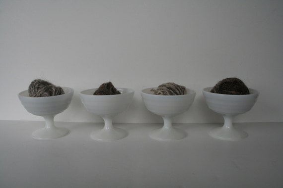 4 vintage milk glass sherbit bowls