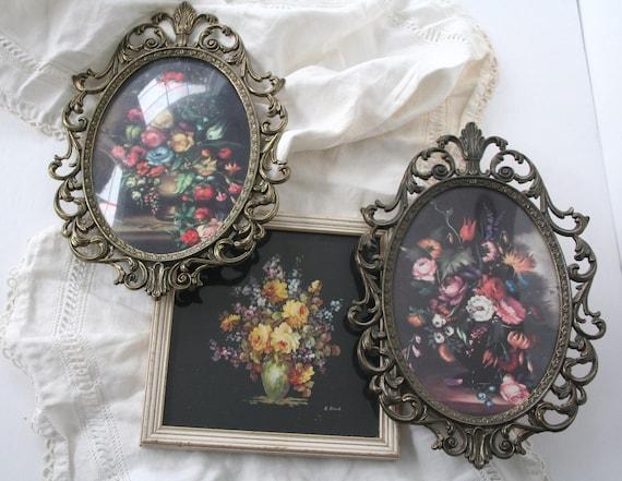 3 vintage botanical framed prints
