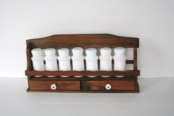 wood spice rack milk glass bottles