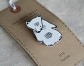 mouse brooch - by elizabeth pawle - modern design - hand drawn hand cut - illustration pin badge