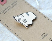 tomas the bear cub brooch - by elizabeth pawle - modern design - hand drawn hand cut - black and white illustration pin badge
