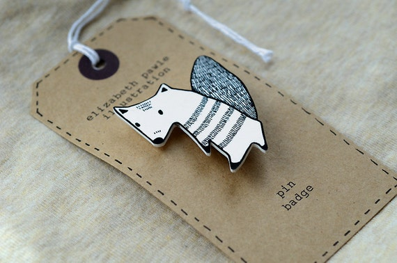 friendly autumn squirrel brooch - by elizabeth pawle - modern design - hand drawn hand cut - black and white illustration pin badge