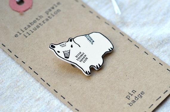 tomas the bear cub brooch - by elizabeth pawle - modern design - hand drawn hand cut - black and white illustration pin badge