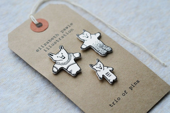 grizzly bear trio of pins - by elizabeth pawle - modern illustration - set of three brooches - hand drawn hand cut - illustration pin badge